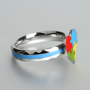 Autism Awareness Heart Puzzle Ring