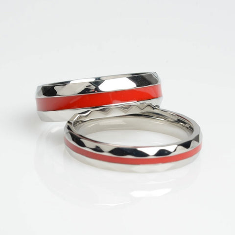 pin red ring engagement thin princess cut line firefighter set pinterest rings