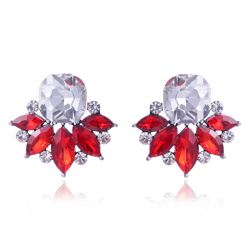 Red Crystal Rhinestones Flower Earrings