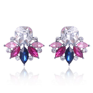 Multi-colored Crystal Rhinestones Flower Earrings