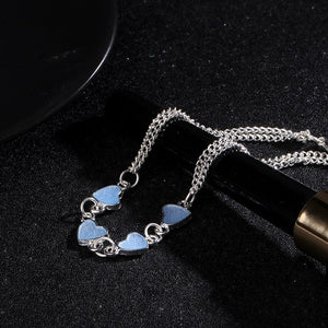 Blue Crystal Heart Bracelet