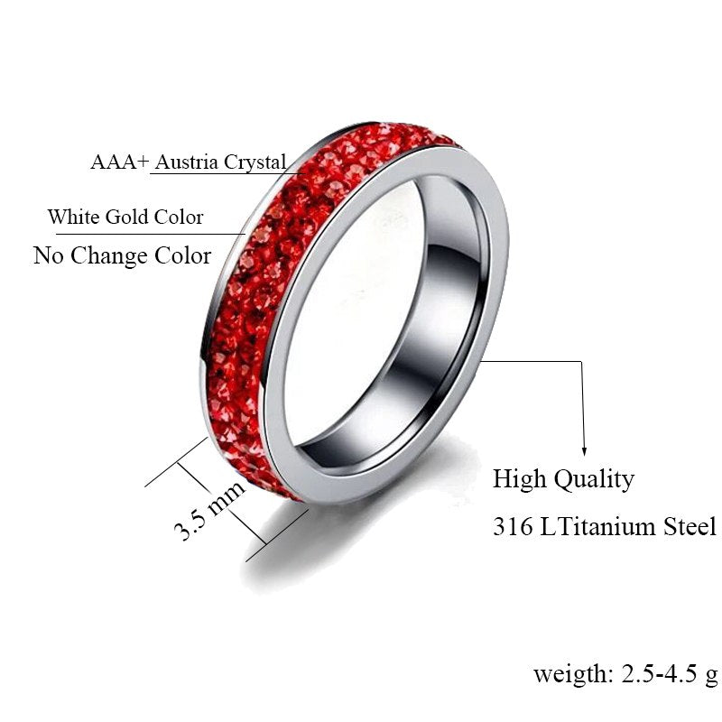 Red Line Firefighter Awareness Stainless Steel Crystal Ring