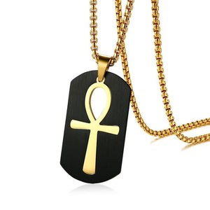 Stainless Steel Black Ankh Necklace
