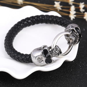 Double Skull Head Leather Bracelet