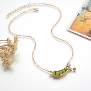 Cute Green Pea Pendant Necklace