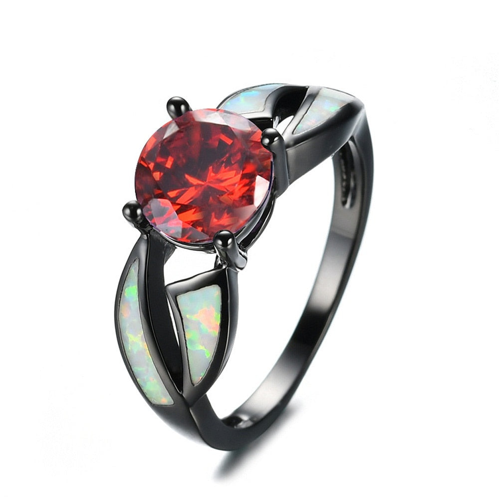 Red Crystal Opal Stainless Steel Ring
