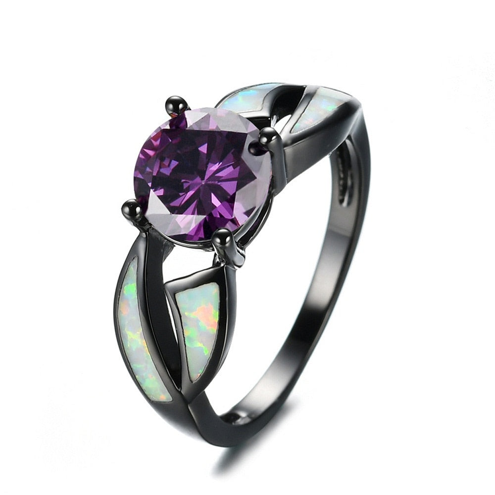 Purple Crystal Opal Stainless Steel Ring