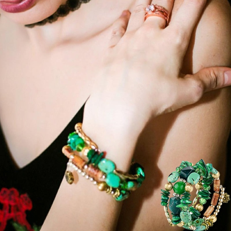Multi-layered Green Stone Bracelet