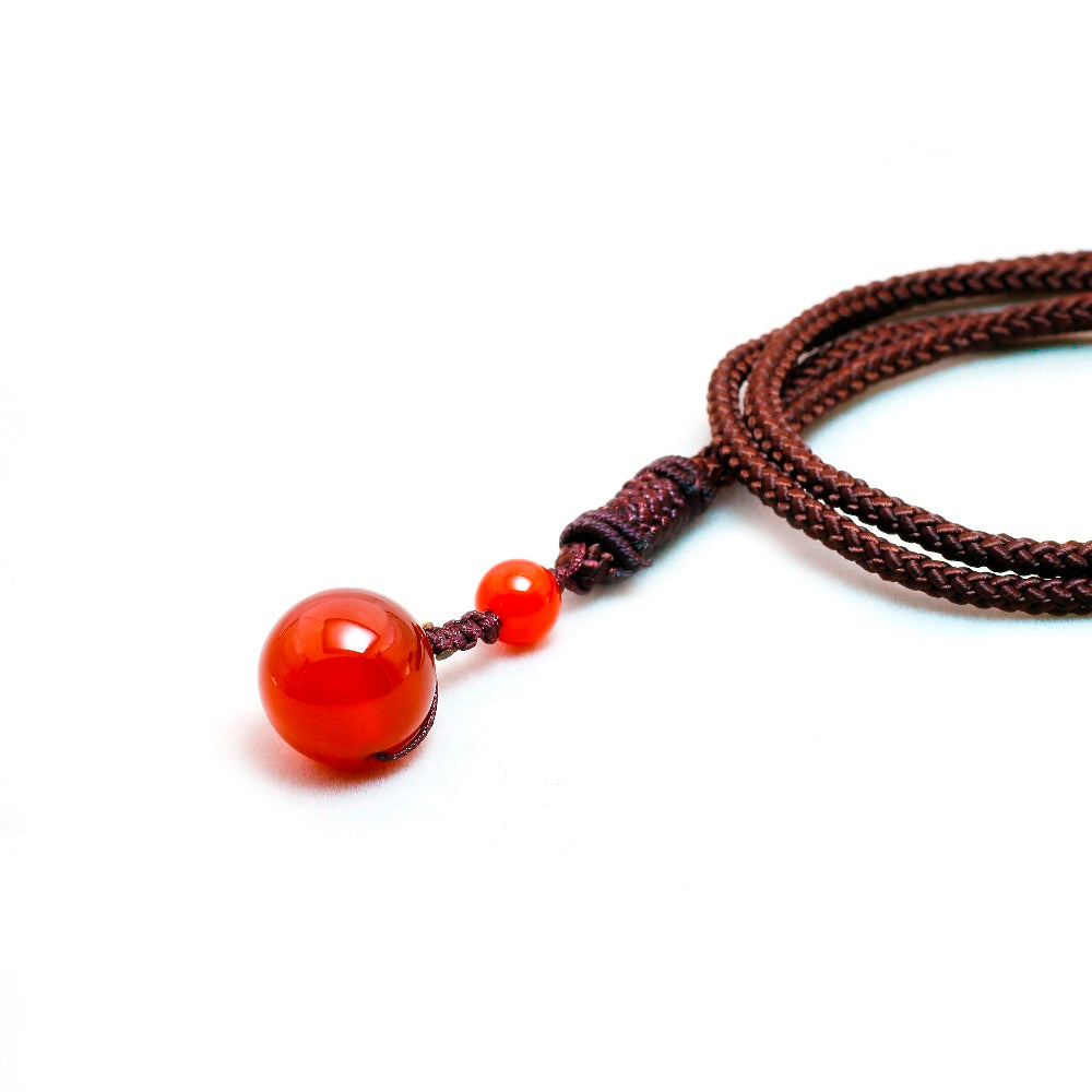 Red Natural Stone Courage Necklace