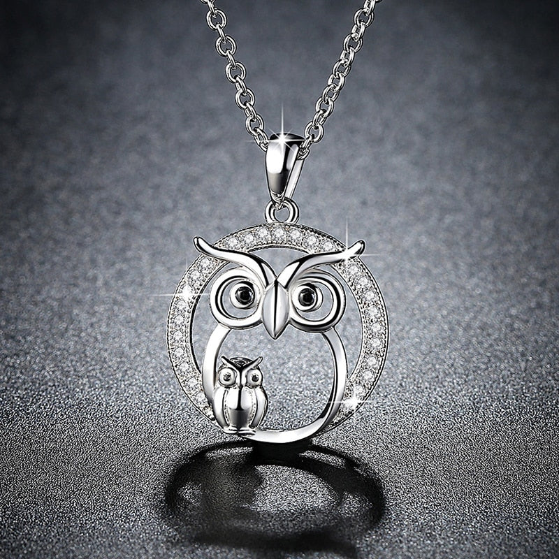 Mother and Son Owl Necklace