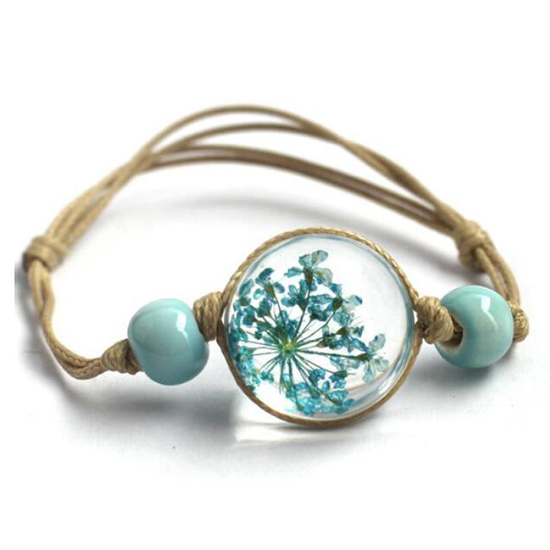 Glass Ball Floral Bracelet