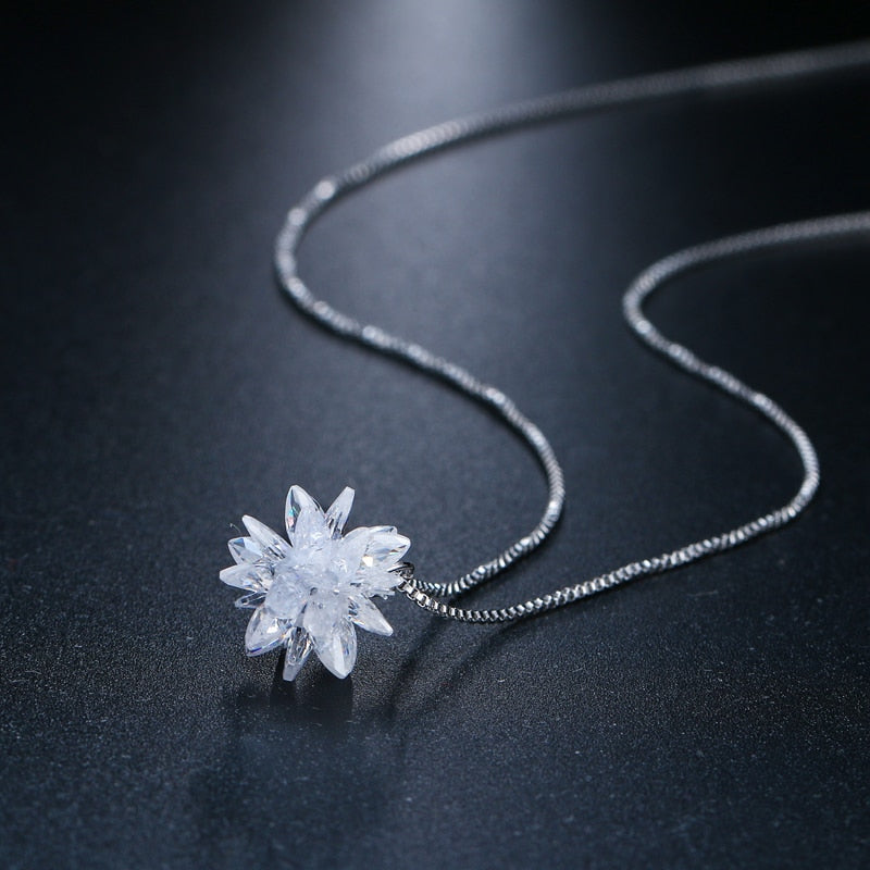 White Crystal Flower Bone Cancer Awareness Necklace