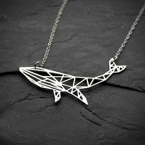 Geometric Humpback Whale Silver Necklace