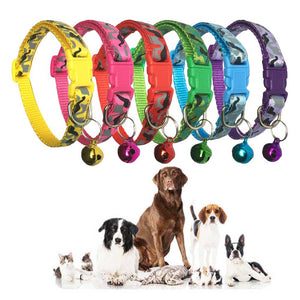 Camouflage Nylon Dog Collar with Bell