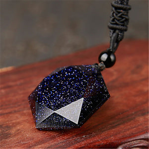 Blue Obsidian Pendant Necklace