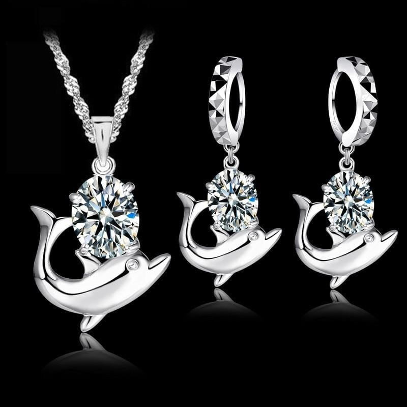 Stone Encrusted Dolphin Jewelry Set