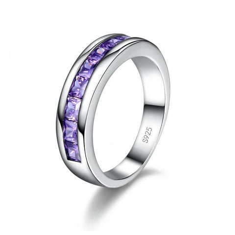 Polished Sterling Silver Purple Crystal Gem Ring
