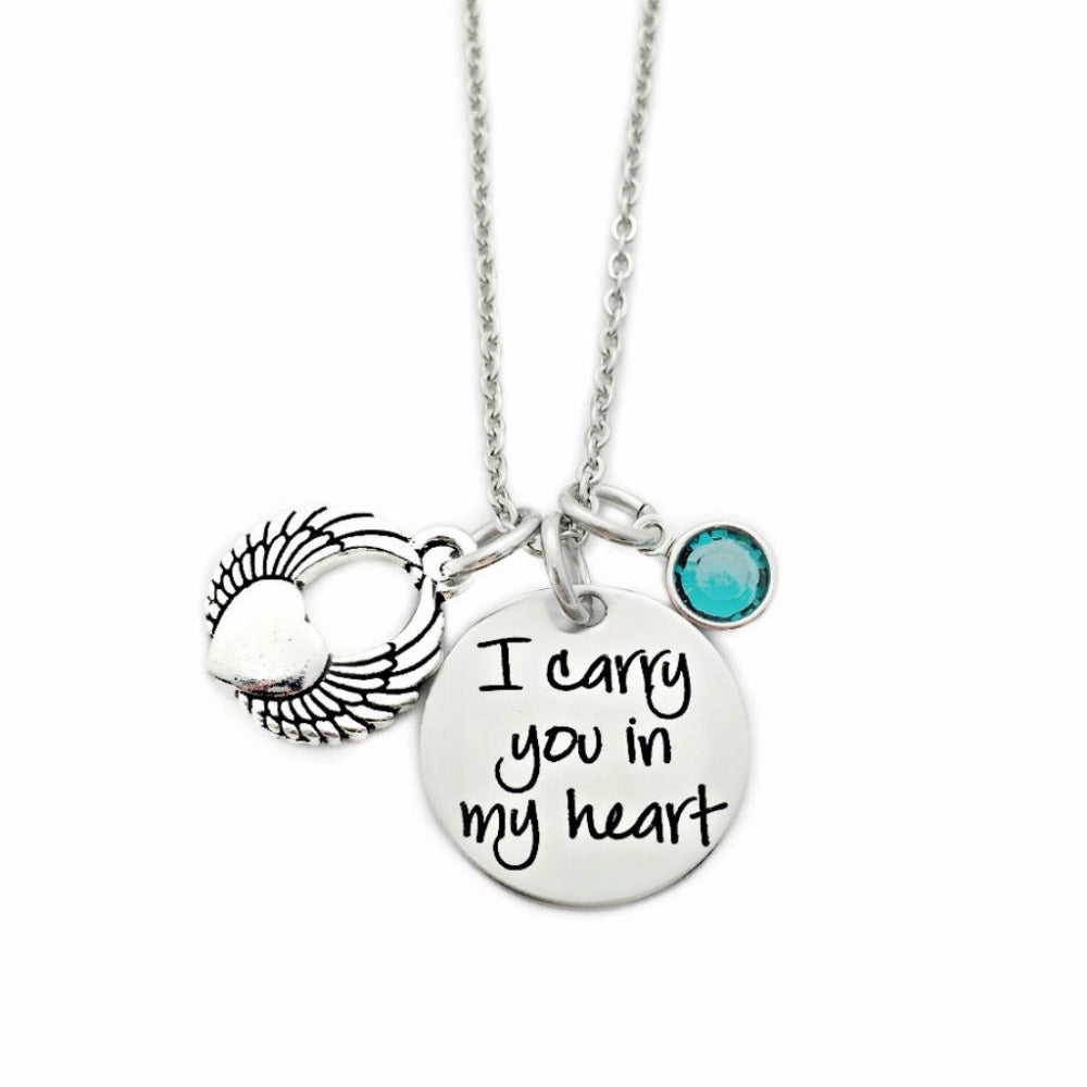 I Carry You In My Heart Memorial Necklace