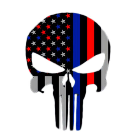 Blue and Red Line Flag Punisher Car Decal