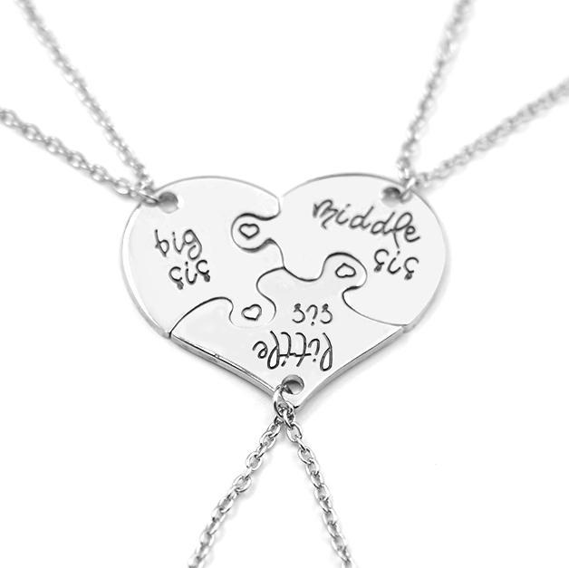Sister Love Heart Puzzle Necklace Set