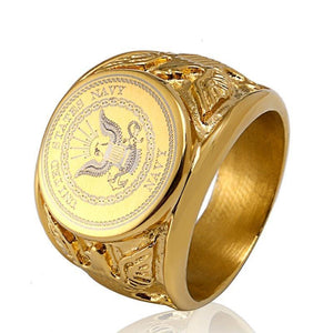 Gold Navy Support Signet Ring