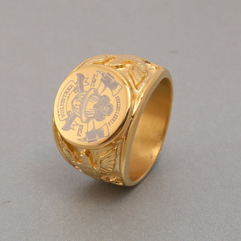 Gold Fire Department Emblem Ring