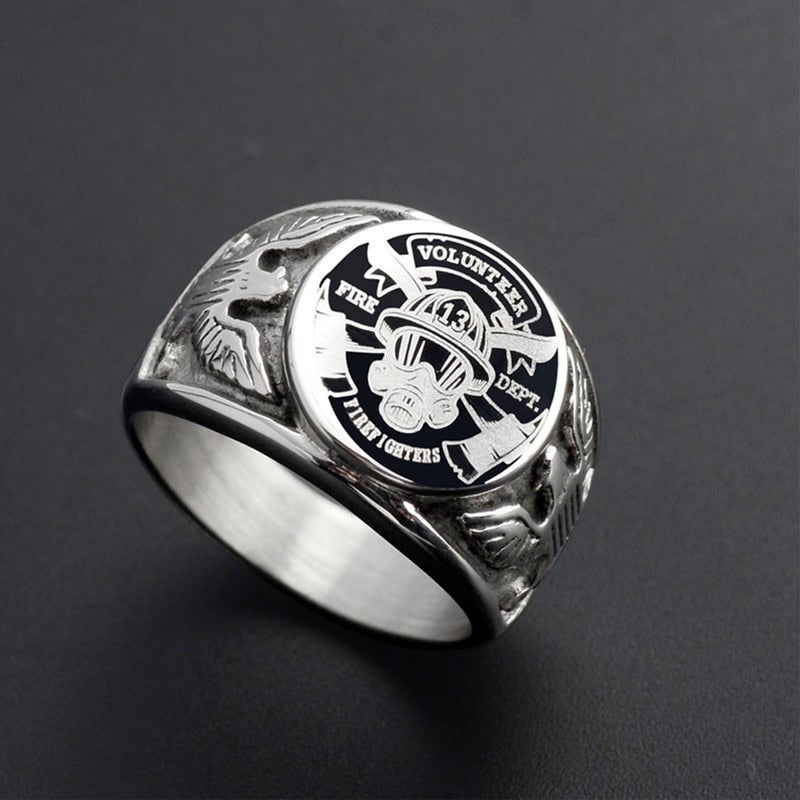 Silver Volunteer Fire Department Signet Ring