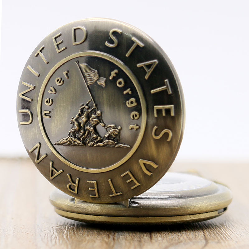 Never Forget US Veterans Pocket Watch