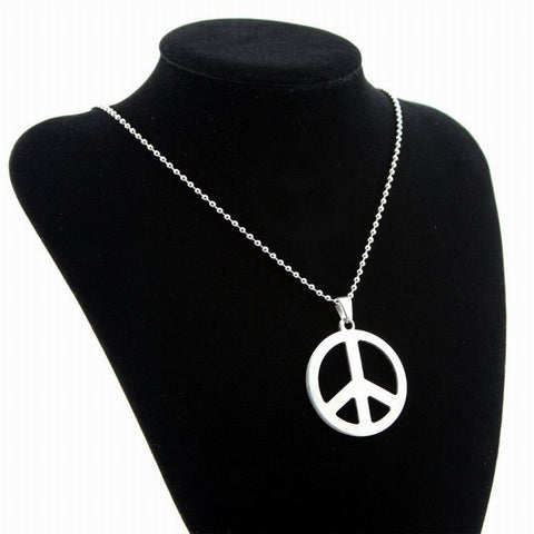 Silver peace sign stainless steel necklace aspire gear silver peace sign stainless steel necklace aloadofball Images