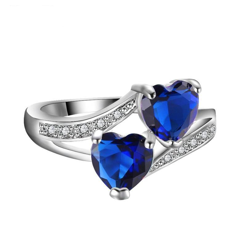 Blue Double Heart Sterling Silver Ring