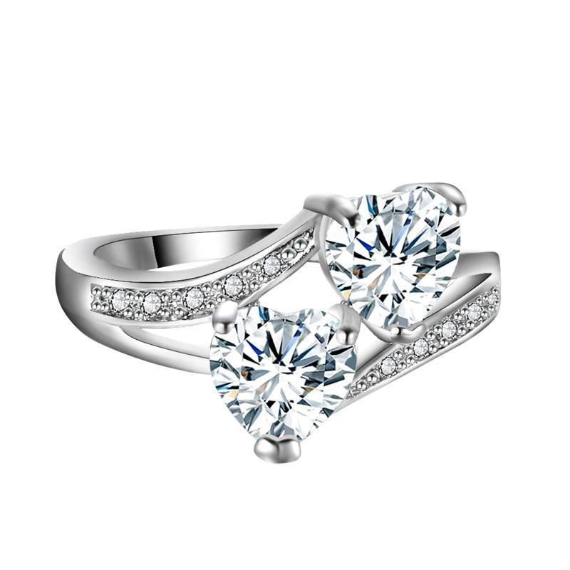 White Double Heart Community Support Sterling Silver Ring