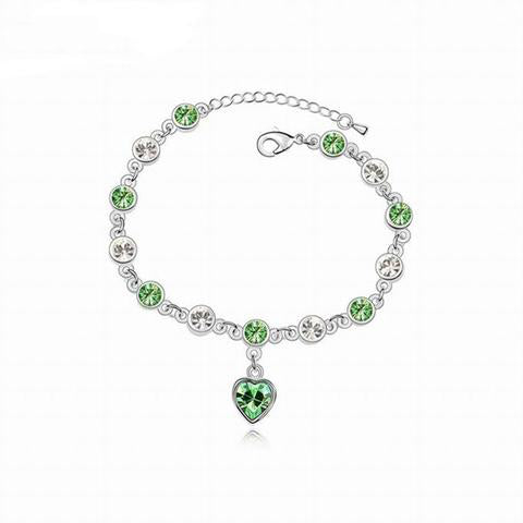 Crystal Heart Mental Health Awareness Bracelet
