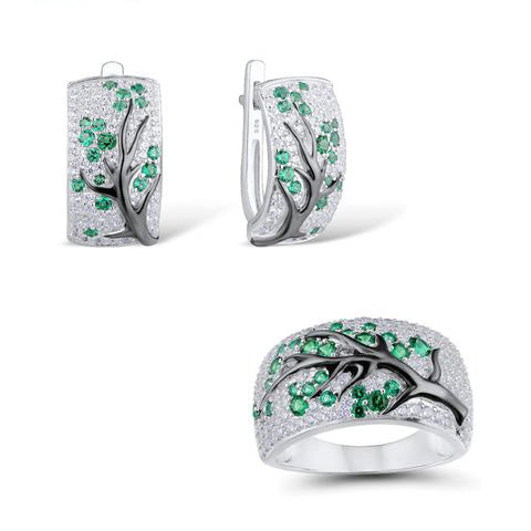Natural Green Stones Tree Design Sterling Silver Ring and Earrings Set