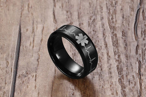 Medical Heartbeat Stainless Steel Ring