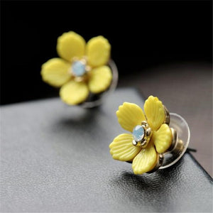Bladder Cancer Awareness Floral Stud Earrings