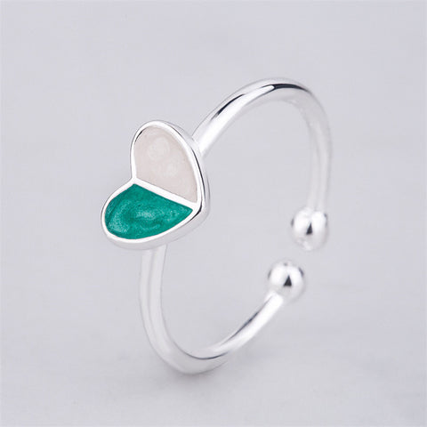 Green Heart Mental Health Awareness Open Ring