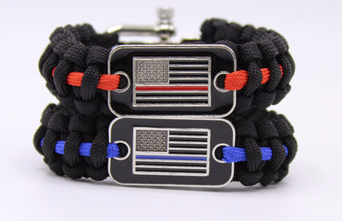 Blue/Red Line Flag Paracord Bracelet
