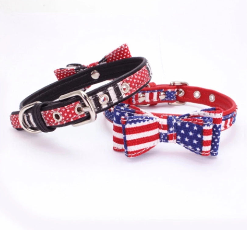 US Flag Dog Leather Collar