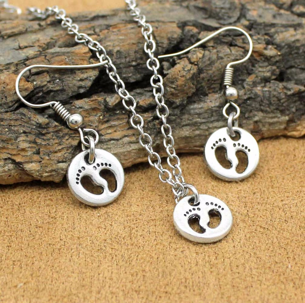 Pro-Life Baby Feet Necklace and Earring Set