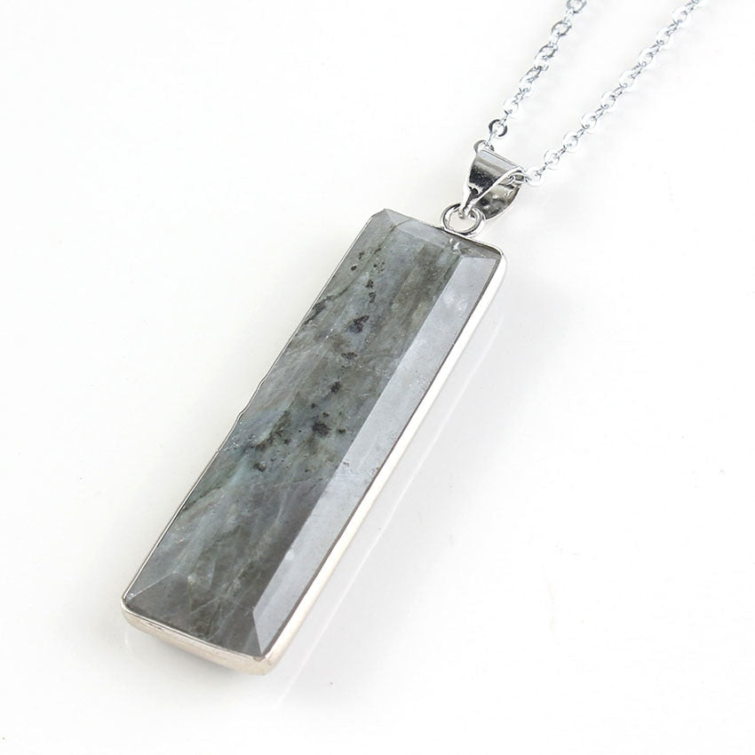 Labradorite Rectangle Stone Necklace