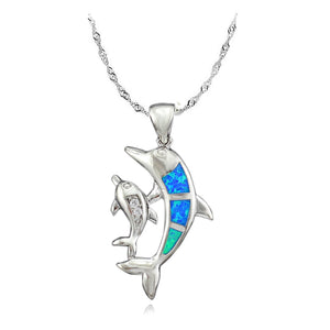 Blue Fire Opal Dolphin Support Pendant