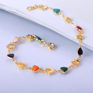 Colorful Hearts Gold Bracelet
