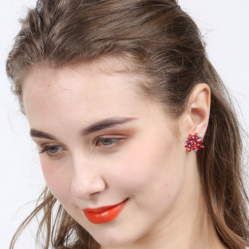 Red Rhinestone Floral Earrings