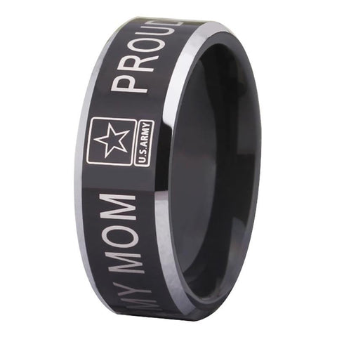 Proud Army Mom Tungsten Ring