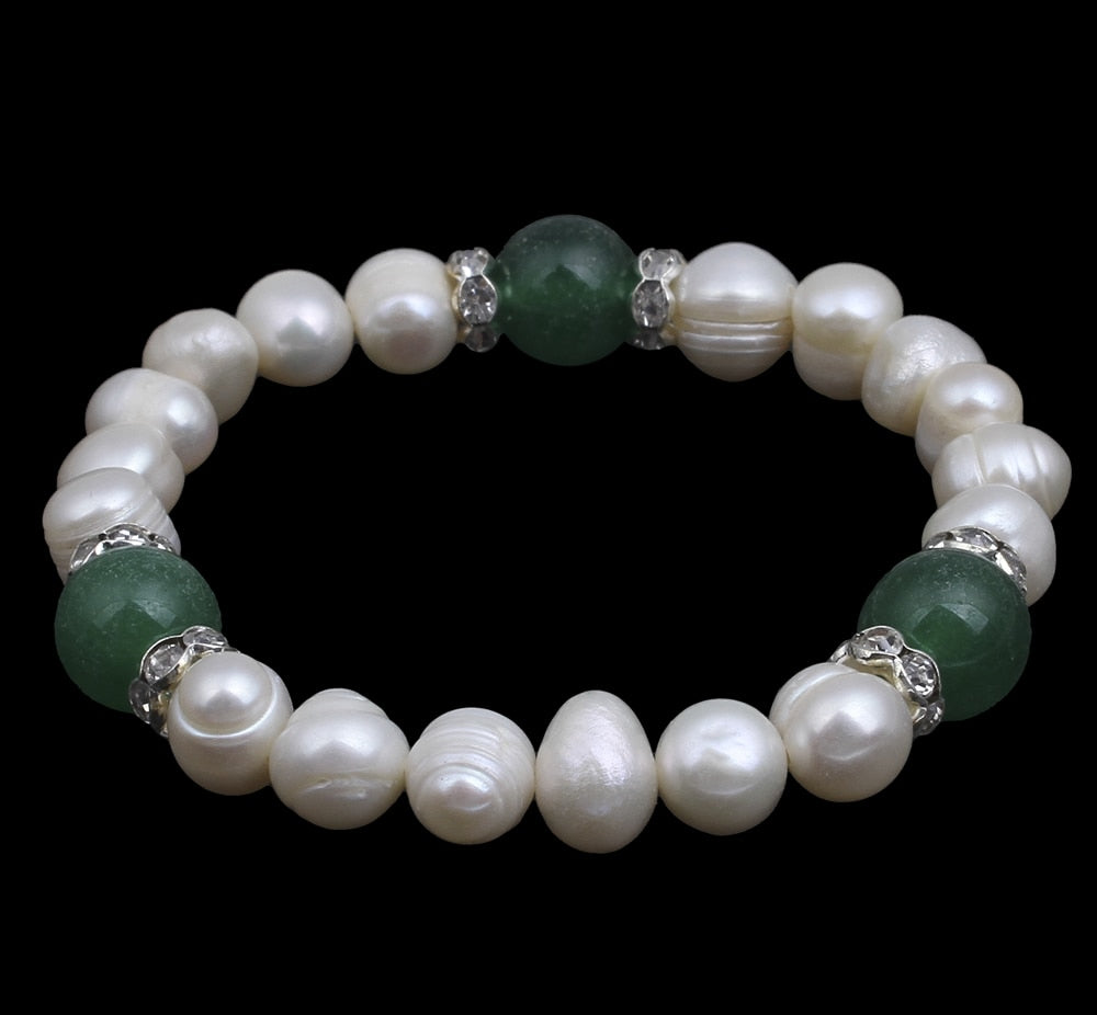 Natural White Pearl Green Bracelet