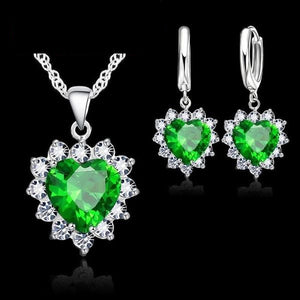 Crystal Heart Army Support Halo Necklace and Earrings Set