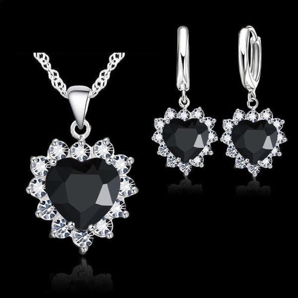 Crystal Heart Veterans Support Halo Necklace and Earrings Set