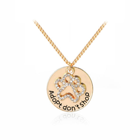 Adopt Don't Shop Crystal Necklace