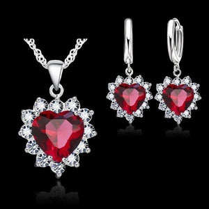 Crystal Heart Firefighter Awareness Halo Necklace and Earrings Set