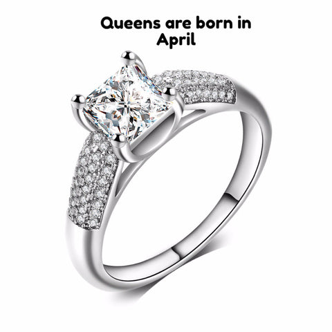 April Birthstone Diamond Ring